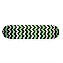 Pattern zigzags (black, green, blank) skateboard deck