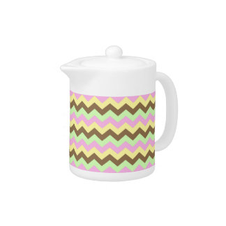 Pattern zigzags (green, pink, yellow and brown) teapot
