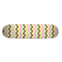 Pattern zigzags (pink, green, yellow and brown) skateboard