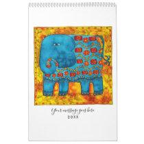 Patterned Animals Watercolour Art Calendar
