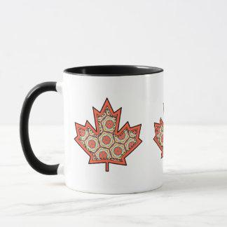 Patterned Applique Stitched Canadian Maple Leaf  4 Mug