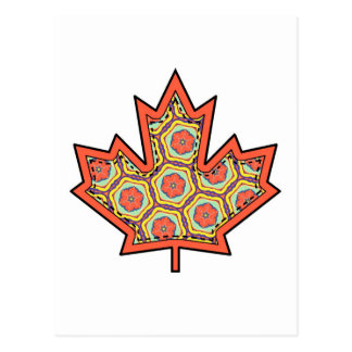 Patterned Applique Stitched Canadian Maple Leaf  4 Postcard