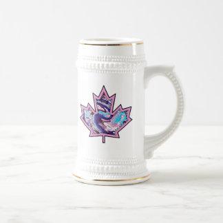Patterned Applique Stitched Maple Leaf  10 Beer Stein