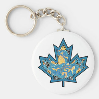 Patterned Applique Stitched Maple Leaf  10 Keychain