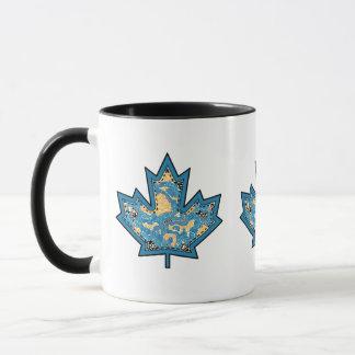 Patterned Applique Stitched Maple Leaf  10 Mug