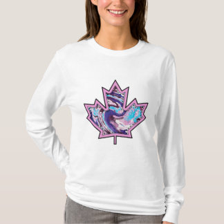 Patterned Applique Stitched Maple Leaf  10 T-Shirt