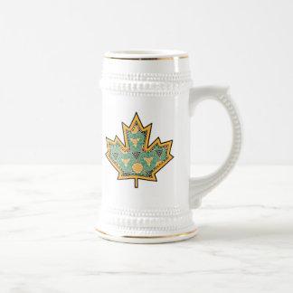 Patterned Applique Stitched Maple Leaf  11 Beer Stein