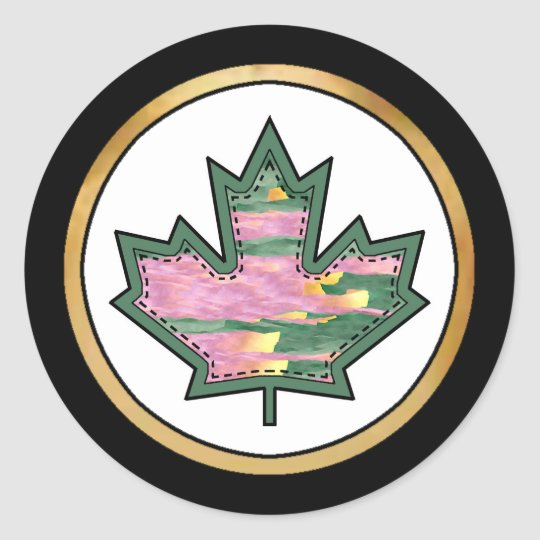 Patterned Applique Stitched Maple Leaf  11 Classic Round Sticker