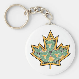 Patterned Applique Stitched Maple Leaf  11 Keychain