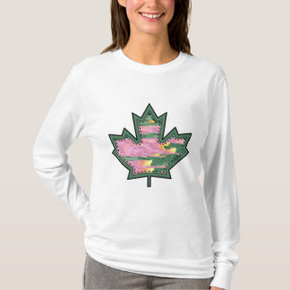 Patterned Applique Stitched Maple Leaf  11 T-Shirt
