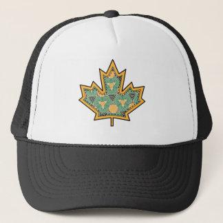 Patterned Applique Stitched Maple Leaf  11 Trucker Hat