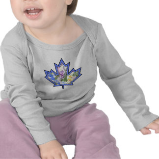 Patterned Applique Stitched Maple Leaf  12 Tee Shirt