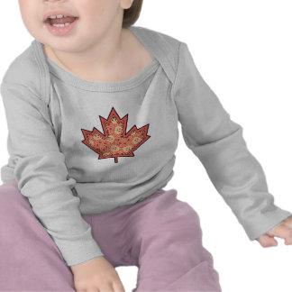 Patterned Applique Stitched Maple Leaf  12 T-shirt