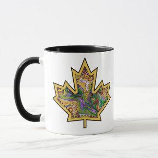 Patterned Applique Stitched Maple Leaf  13 Mug