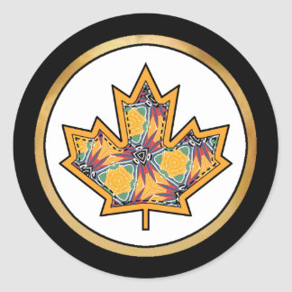 Patterned Applique Stitched Maple Leaf  13 Classic Round Sticker