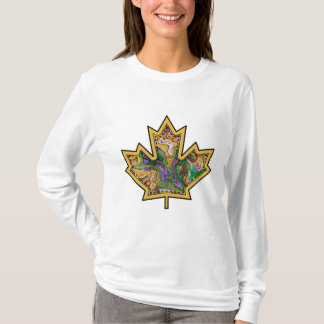 Patterned Applique Stitched Maple Leaf  13 T-Shirt