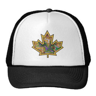 Patterned Applique Stitched Maple Leaf  13 Trucker Hat