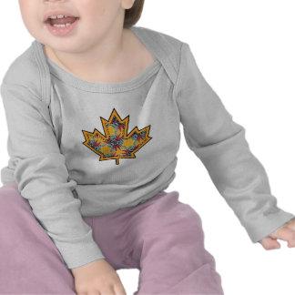 Patterned Applique Stitched Maple Leaf  13 Shirt