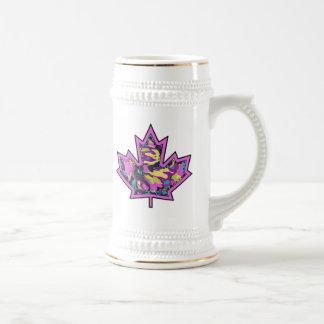 Patterned Applique Stitched Maple Leaf  14 Beer Stein
