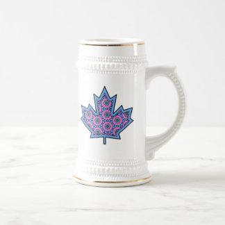 Patterned Applique Stitched Maple Leaf  15 Beer Stein