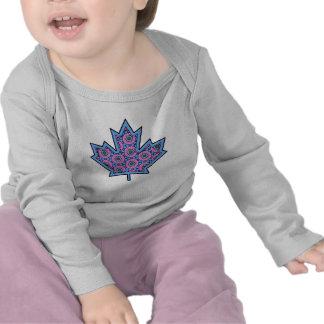 Patterned Applique Stitched Maple Leaf  15 Shirt
