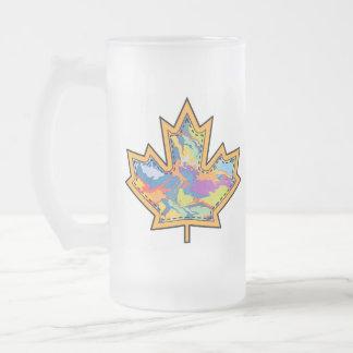 Patterned Applique Stitched Maple Leaf  16 Frosted Glass Beer Mug