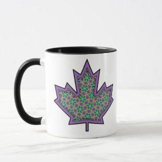 Patterned Applique Stitched Maple Leaf  16 Mug