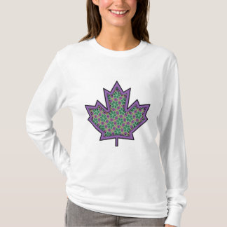 Patterned Applique Stitched Maple Leaf  16 T-Shirt