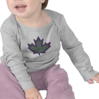 Patterned Applique Stitched Maple Leaf  16 Tshirt