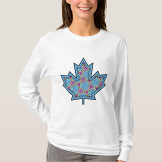 Patterned Applique Stitched Maple Leaf  18 T-Shirt