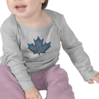 Patterned Applique Stitched Maple Leaf  18 Tee Shirts