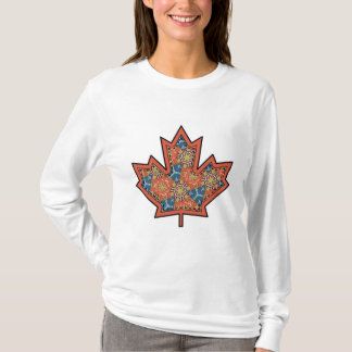 Patterned Applique Stitched Maple Leaf  19 T-Shirt