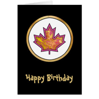 Patterned Applique Stitched Maple Leaf  1 Greeting Card