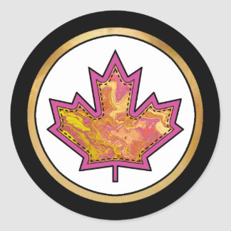 Patterned Applique Stitched Maple Leaf  1 Classic Round Sticker
