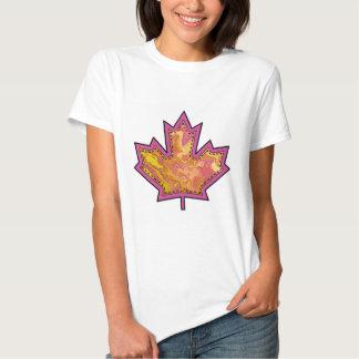 Patterned Applique Stitched Maple Leaf  1 T-Shirt
