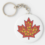 Patterned Applique Stitched Maple Leaf  20 Keychains