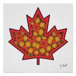 Patterned Applique Stitched Maple Leaf  20 Posters