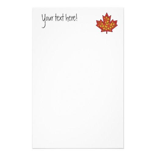 Patterned Applique Stitched Maple Leaf  20 Stationery Design
