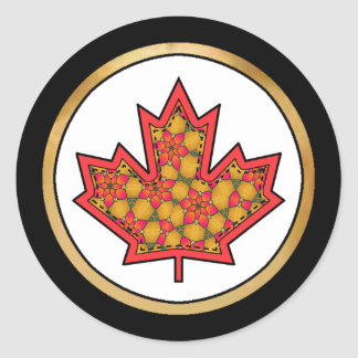 Patterned Applique Stitched Maple Leaf  20 Classic Round Sticker