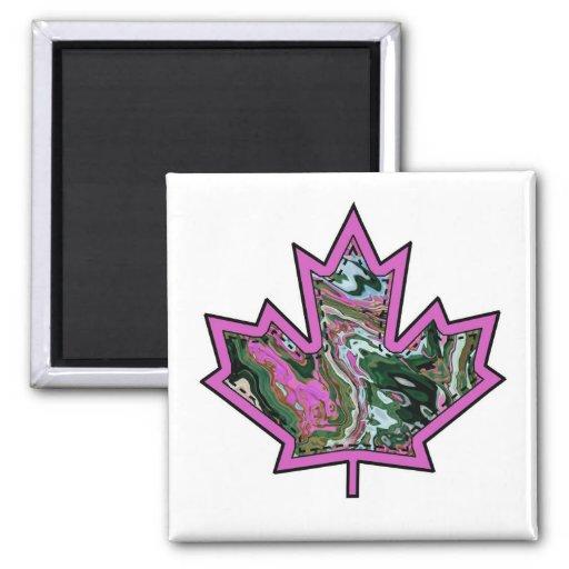 Patterned Applique Stitched Maple Leaf  2 Magnets