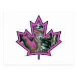 Patterned Applique Stitched Maple Leaf  2 Postcard
