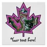 Patterned Applique Stitched Maple Leaf  2 Posters