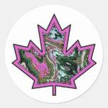 Patterned Applique Stitched Maple Leaf  2 Sticker