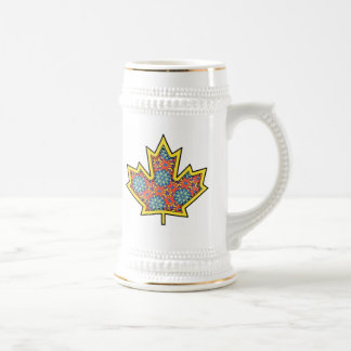 Patterned Applique Stitched Maple Leaf  3 Beer Stein