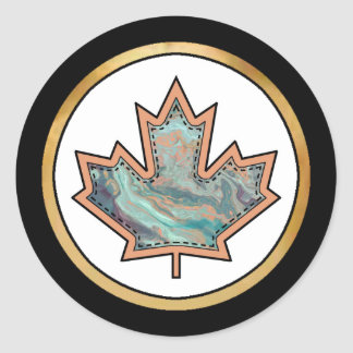 Patterned Applique Stitched Maple Leaf  3 Classic Round Sticker