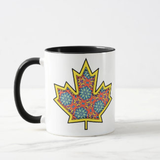 Patterned Applique Stitched Maple Leaf  3 Mug