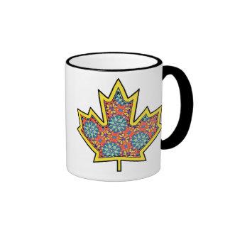 Patterned Applique Stitched Maple Leaf  3 Coffee Mug