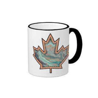 Patterned Applique Stitched Maple Leaf  3 Ringer Coffee Mug