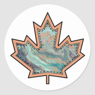 Patterned Applique Stitched Maple Leaf  3 Sticker