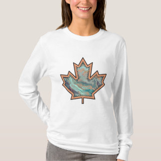 Patterned Applique Stitched Maple Leaf  3 T-Shirt
